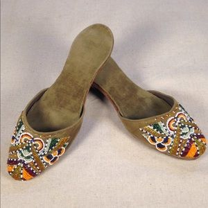 🌈1920s Vintage🌈Beaded Cotton & Silk Beaded Mules